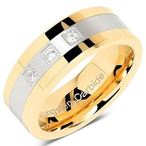 Other - Two Tone Tungsten Crystal Wedding Bands 3 CZ Ring